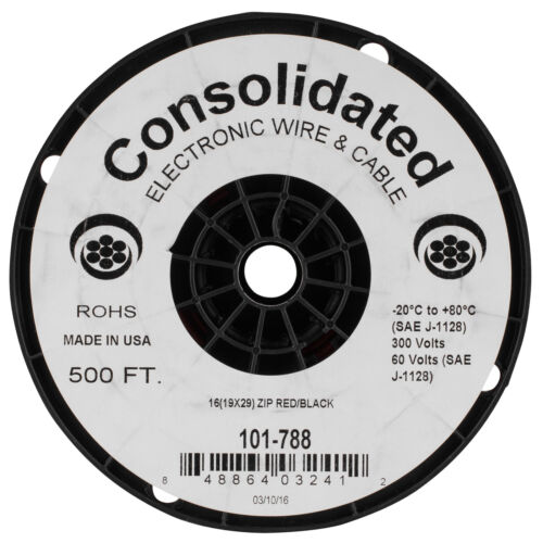Red//Black Consolidated 500 ft 16 AWG Power Speaker Wire