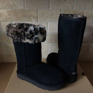 51d6cd3952af UGG Classic Tall II Animal Black Suede Sheepskin Boots Size US 5 ...