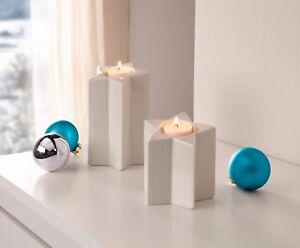 Teelichthalter-Sterne-2-er-Set-Kerzenstaender-weiss-Weihnachten-Deko-modern-edel