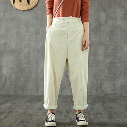 Womens Elastic Waist Corduroy Pants Casual Loose Baggy Harem Trousers Plus Size