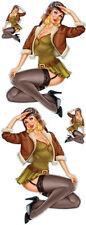Aufkleber Set Vintage Aviation Pin Up Girl Sexy Pilotin Blond Decal Value XL Neu