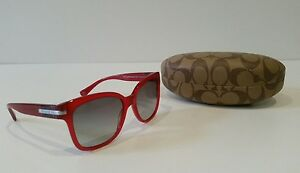 d35bca29f7 Image is loading COACH-Sunglasses-Red-amp-Silver-With-Case-And-