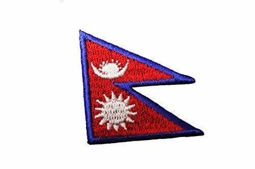 """NEPAL Country Flag Embroidered Iron on Patch Crest Badge ...Size 1.5/"""" x 1.5/"""" I"""
