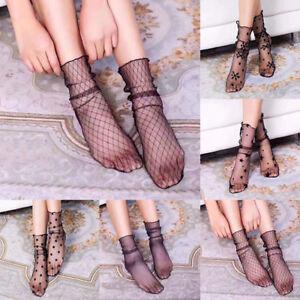6e782f1595b47 Image is loading Fashion-Women-Ruffle-Fishnet-Ankle-High-Socks-Mesh-