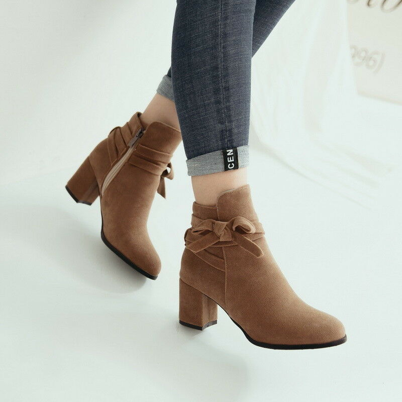 Women Ladies Chunky Heels Bow Knot Side Zip Suede Ankle Boots Elegant shoes New