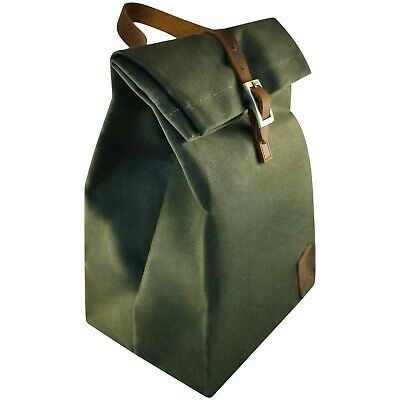 1614abea9c3e Insulated Waxed Canvas Lunch Bag w/ Back Pocket (Green) Reusable & Washable  691162688054 | eBay