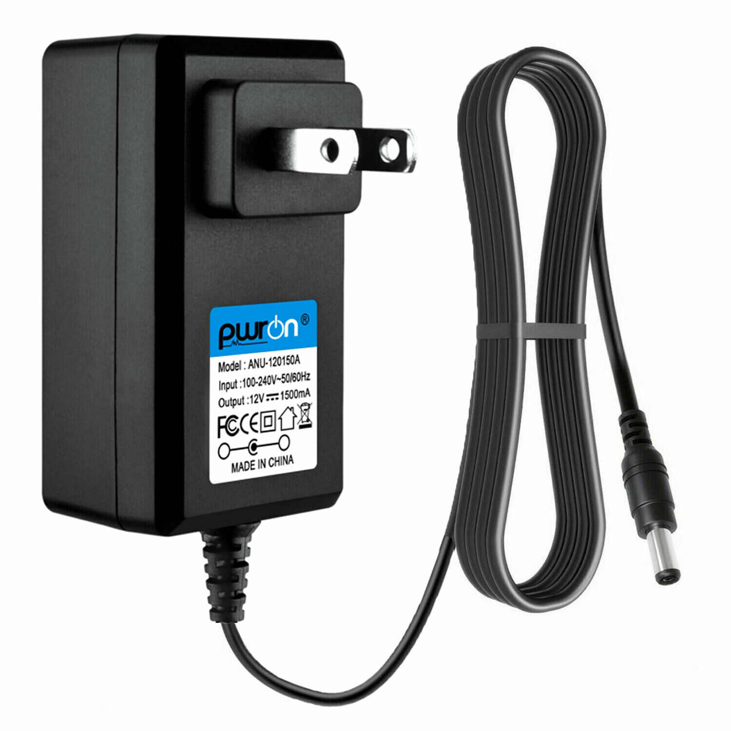 PwrON 2.5mm x 5.5mm CCTV Power Adapter 12V DC 1.5A Charger For Q-See Security