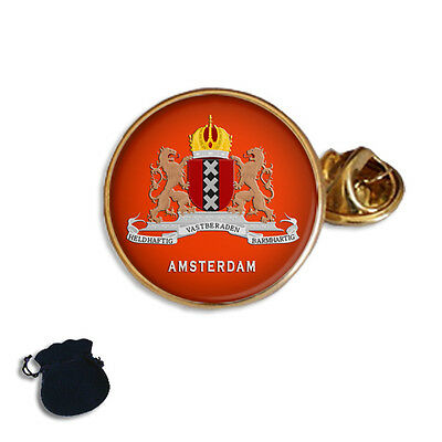 Netherlands Amsterdam Flag Lapel Pin Badge