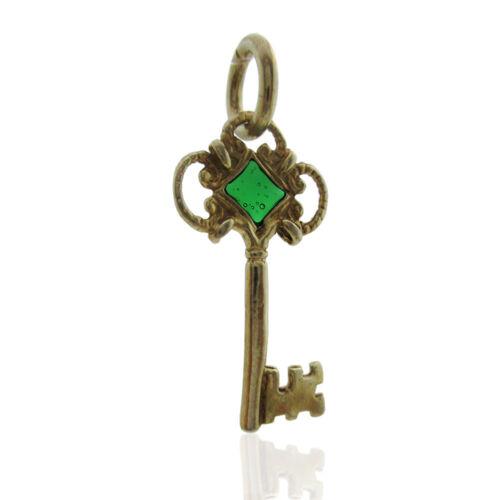 Ciondolo chiave mm 27 in argento 800 placcato oro con vetro cattedrale verde