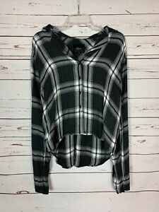 Rails-Women-039-s-M-Medium-Black-White-Plaid-Flannel-Long-Sleeve-Cute-Fall-Top-Shirt