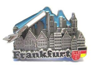 Frankfurt-Metall-Magnet-Roemer-Skyline-Flugzeug-Souvenir-Germany-Neu