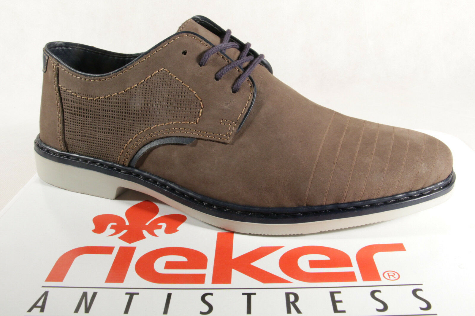 Rieker Men's Lace-Up shoes, Low shoes 13032 Sneakers Trainers Brown Leather New