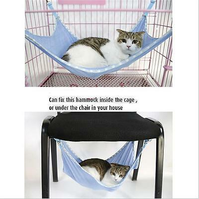 Pet Cat Dog Ferret Hammock Hanging Bed Cage Animal Perching Mesh Pad S & L JJ