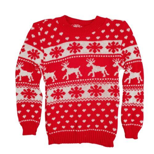 New Girls Boys Christmas Reindeer Snowflake Knitted Kids Xmas Jumper Sweater Top