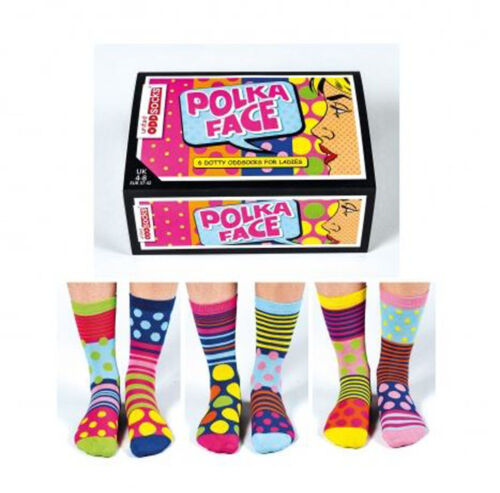 United Oddsocks Polka Face Ladies Socks Quirky Gift Idea for Friends
