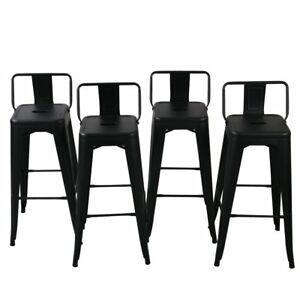 Fantastic Details About New Low Back Indoor Outdoor Chair Stool Counter Height Stools Black Set Of 4 Gamerscity Chair Design For Home Gamerscityorg