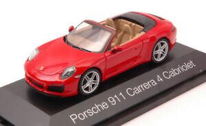 Porsche 911 Carrera 4 Cabrio Rouge 1:43 Modèle Herpa