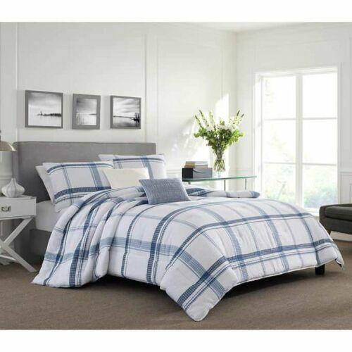 NEW Nautica Home 7-Piece Comforter Set W/ Pillows Gray Eastmoor Plaid Queen/Full