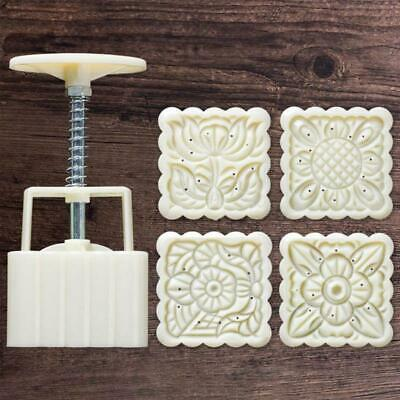 ybvyd Mid-Autumn Festival Hand-Pressure Moon Cake Mould,4pcs Square Hand Press Stamp Decor Barrel Mooncake Mold 100g Pastry DIY Tool