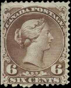 Canada-27a-mint-F-NG-1868-Queen-Victoria-6c-yellow-brown-Large-Queen-faults