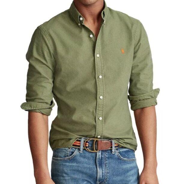 Ralph Lauren Polo Mens 3XLT Big &Tall Green Cotton Oxford Shirt Pony Logo NWT