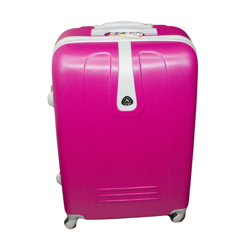 Set di 3 valigie fucsia con struttura rigida trolley valigie bagaglio a mano