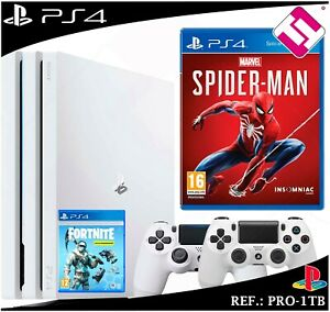 PS4-PLAYSTATION-4-PRO-1TB-BLANCA-2-MANDOS-BLANCOS-JUEGO-SPIDERMAN-FORNITE