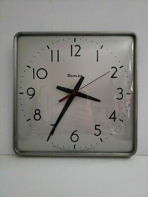 Vintage Simplex 1970s Aluminum Metal Glass School Square Industrial Wall Clock Ebay