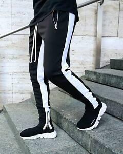 Men-039-s-Gym-Workout-Stripe-Jogger-Pants-Slim-Fit-Tapered-Sweatpants-Zipper-Pockets