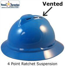 Msa Advance Full Brim Vented Hard Hat With 4 Pt Ratchet Suspension Blue