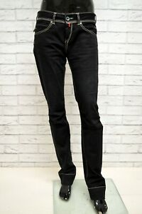 Pantalone-GURU-Donna-Taglia-Size-28-Jeans-Pants-Woman-Beige-Cotone-Nero-Regular