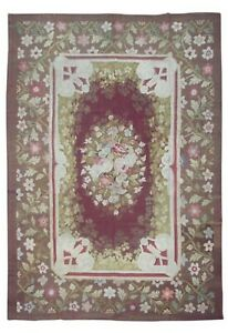 Antique-8X11-French-Aubusson-Area-Rug-Floral-Design-circa-1880-8-3-x-10-8