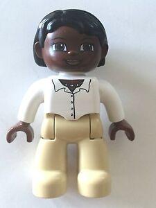 *NEW* Lego DUPLO Female WHITE Legs LIGHT BLUE Top TAN Hair Brown Eyes