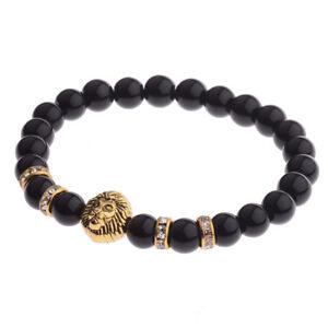 8 Mm Natural Gemstone Gold Lion Head Femmes Hommes Bracelets Charme Bijoux Cadeau-afficher Le Titre D'origine Circulation Sanguine Tonifiante Et Douleurs D'ArrêT