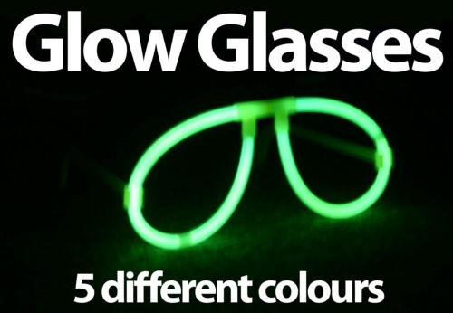 Lot of Bright Colours Green Blue Yellow Orange Pink Glow in the Dark Glasses