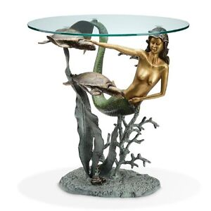Image Is Loading Mermaid Amp Sea Turtle Accent End Table Nautical