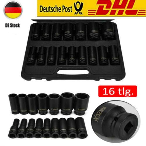 """1//2/"""" Kraft-Schlagschrauber-Nüsse 10-32 mm 16-tlg Steckschlüssel-Satz Schlagnuss"""