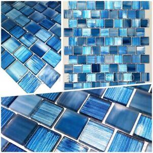 Détails sur echantillon mosaique de verre salle de bain et douche drio bleu