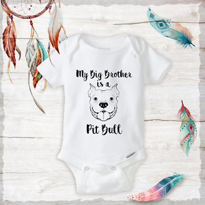 35a6f708d37 Details about Big Brother or Sister is a Pitbull Onesies - Neutral baby  Clothes Outfit Unisex