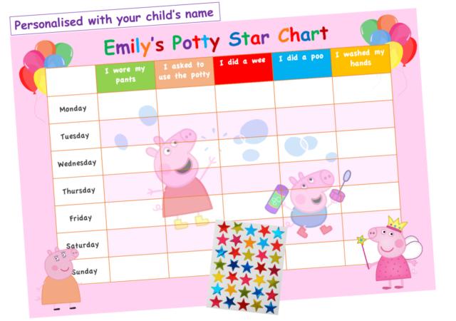 Personalised POTTY TOILET TRAINING reward Chart /& FREE stickers