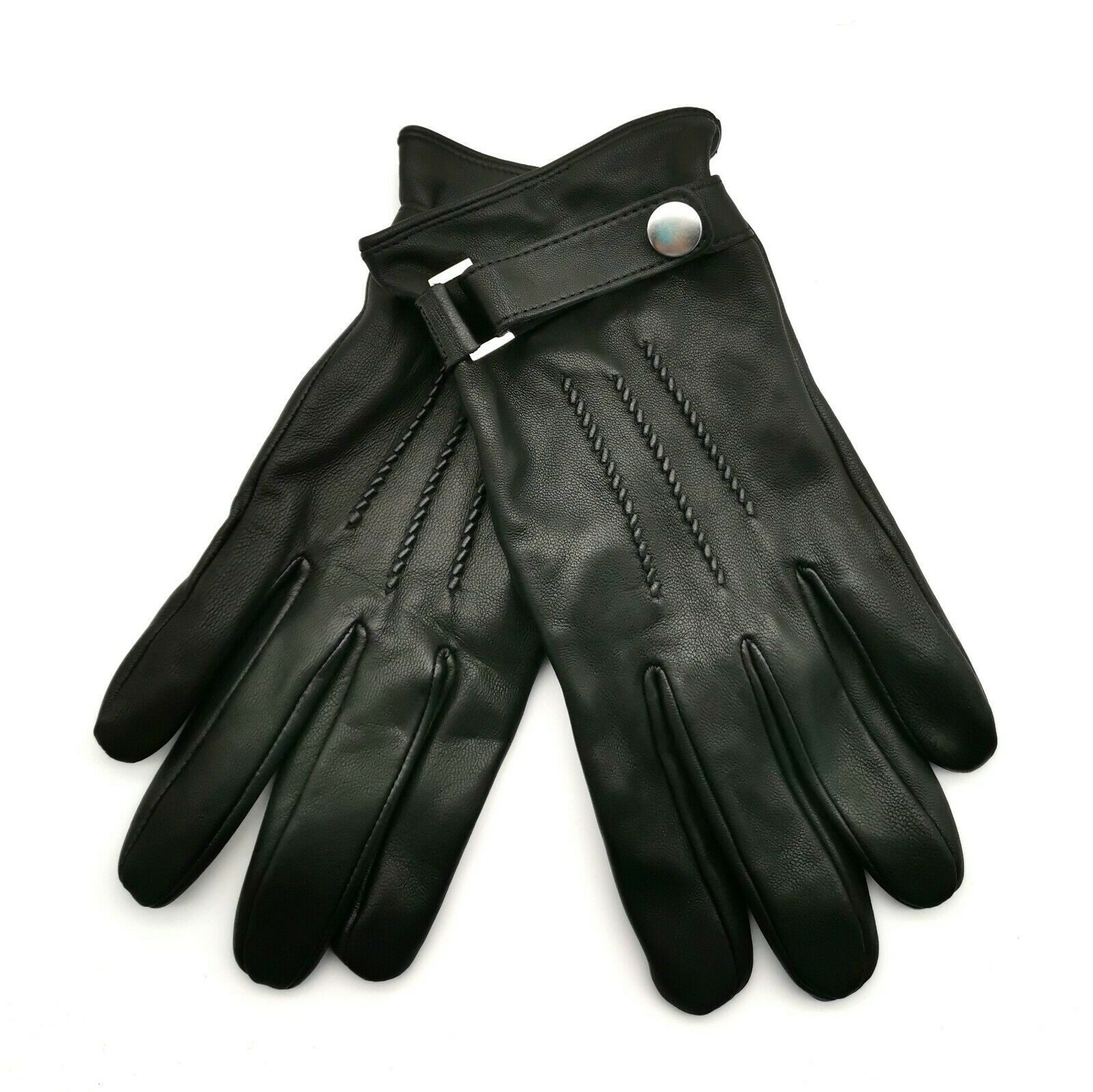 Ex Marks and Spencer Men's Black Luxury Leather Italian Gloves with Detail T4