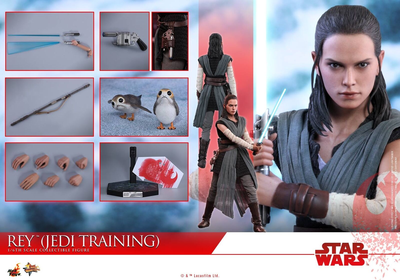 Hot Toys MMS446 Star Wars The Last Jedi 1/6 Rey Training Daisy Ridley Figure New