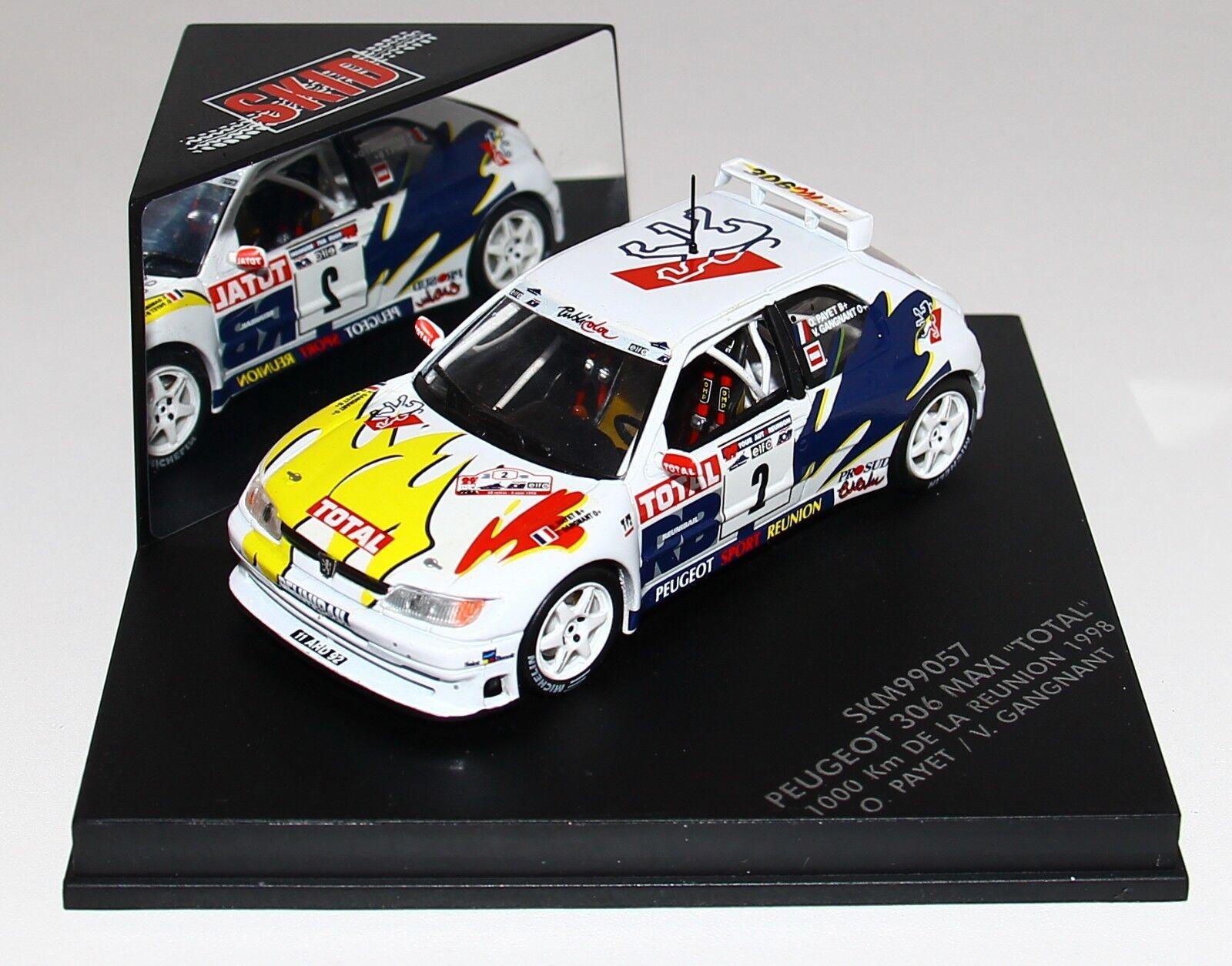 1 43 Vitesse Skid SKM99057 Peugeot 306 Maxi Rallye Réunion 1998 Payet RARE