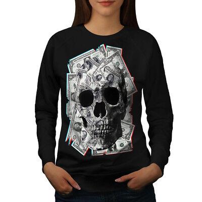 Klug Wellcoda Money Skeleton Rock Womens Sweatshirt, Devil Casual Pullover Jumper Starker Widerstand Gegen Hitze Und Starkes Tragen