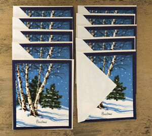 Vintage-Blue-Christmas-Cards-Holiday-Snowy-Tree-Lot-Of-10-Unsigned-Envelopes