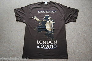 MICHAEL-JACKSON-KING-OF-POP-LONDON-THE-O2-2010-BROWN-T-SHIRT-NEW-OFFICIAL