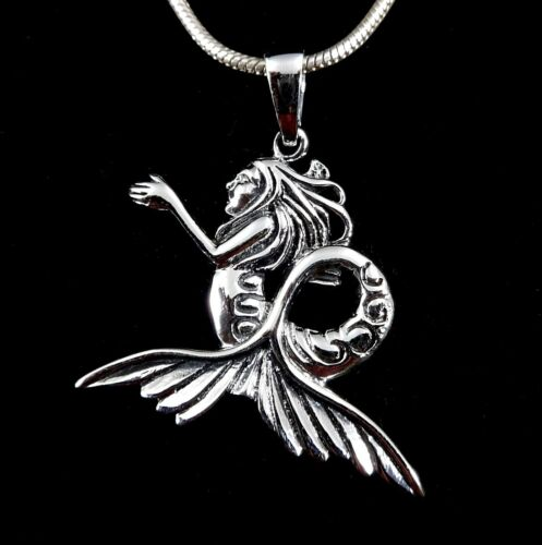Handcrafted 925 Solid Sterling Silver Aquatic MERMAID Sea Witch Siren Pendant