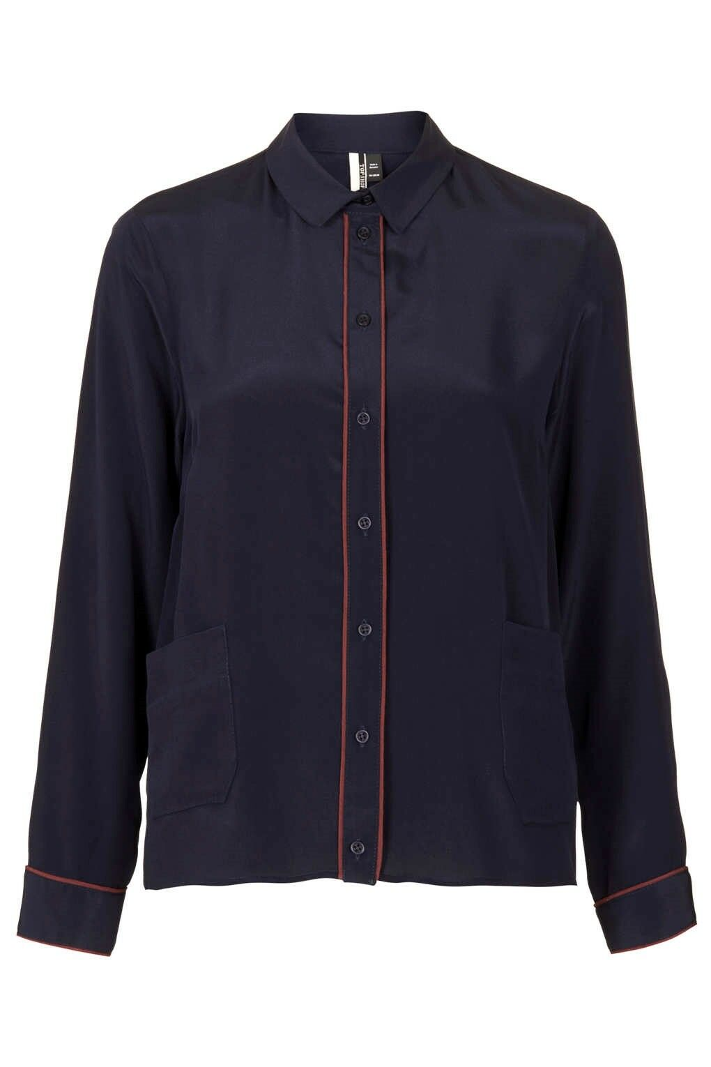 NWT  Designer Boutique Topshop Pure SILK Burgundy tipped SHIRT French Navy