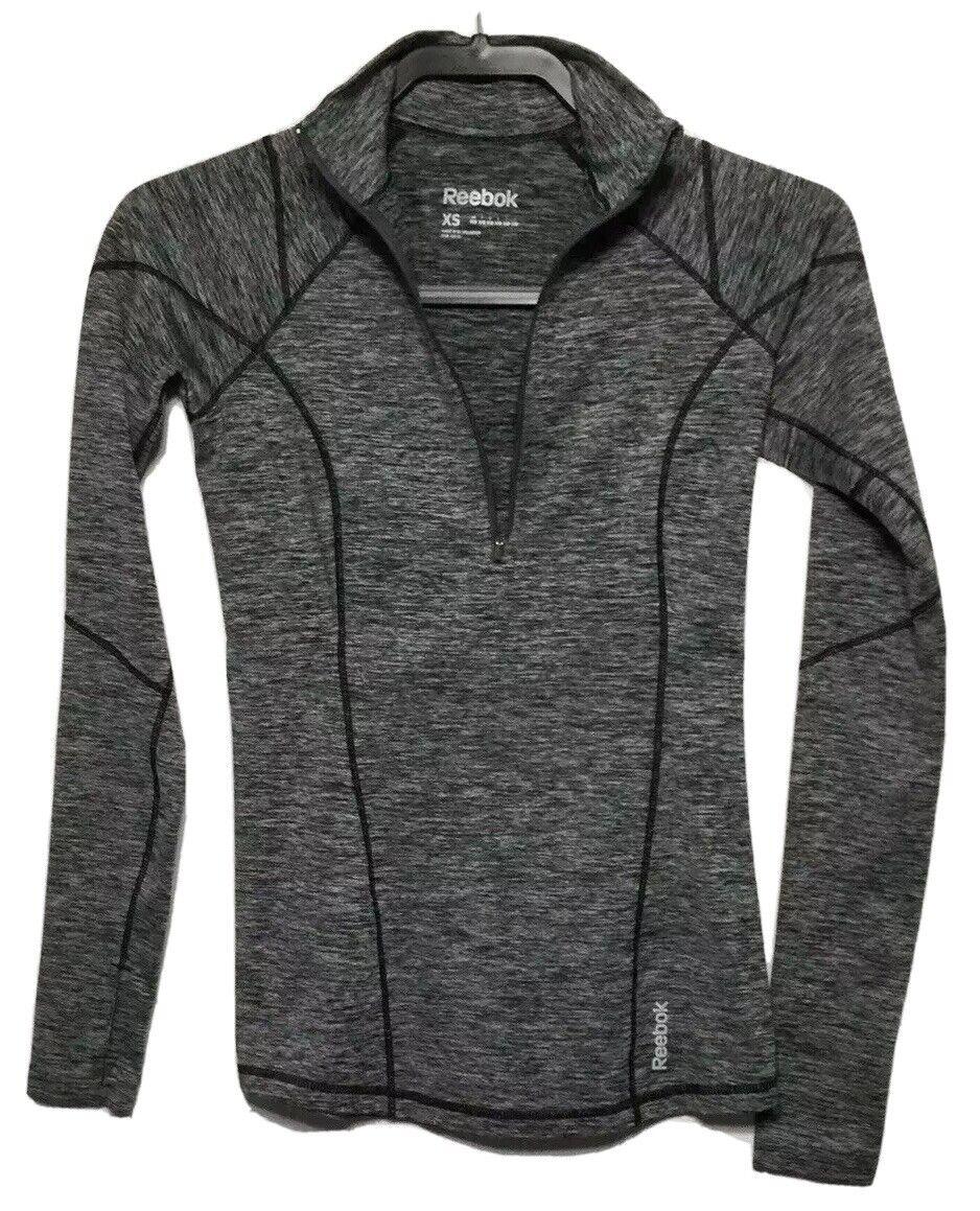 REEBOK WOMENS XS Activewear Running Top Thumbholes Gray Heather Fitted 1/2 Zip