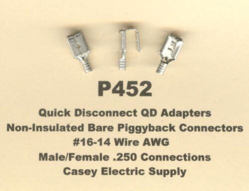 25 Bare Non Insulated PIGGYBACK Terminal Connectors #16-14 Gauge Wire AWG .250